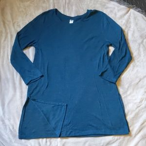 NWOT Old Navy Sz L Teal Green Ribbed Tunic Tee